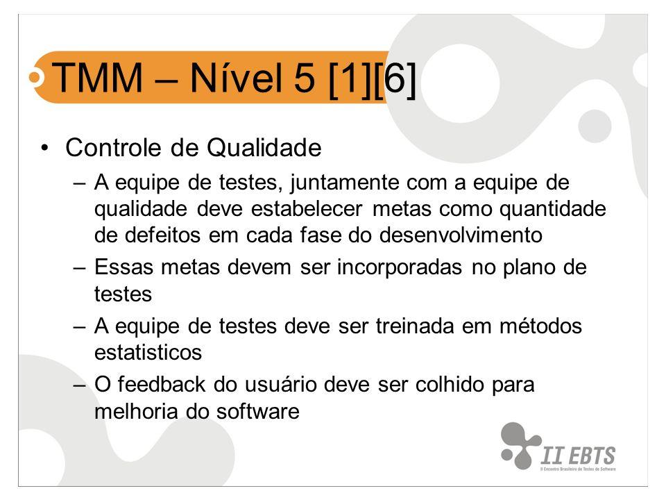 TMM – Nível 5 [1][6] Controle de Qualidade